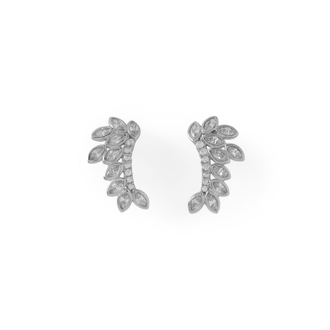 Rhodium Plated CZ Leaf Drop Earrings at 3 Barn Swallows, $59