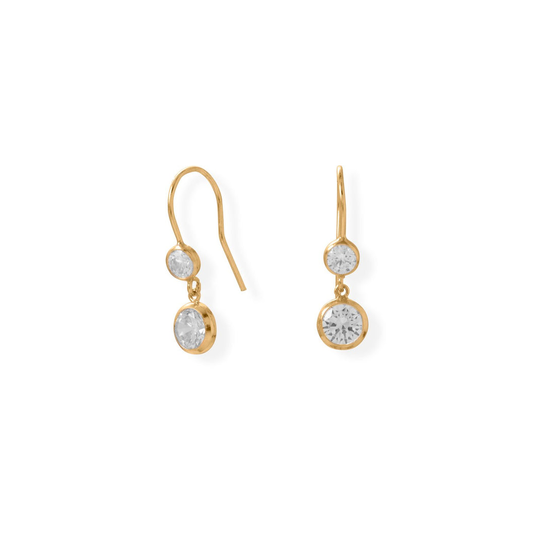 Gold-Filled CZ Drop French Wire Earrings at 3 Barn Swallows, $66