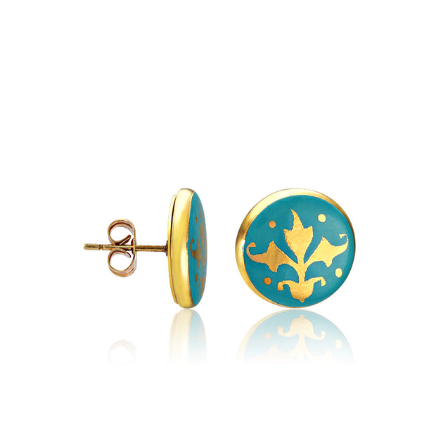 Baroque Mint-Green and Gold Fine Porcelain Post Earring by SAZIBE Porcelain