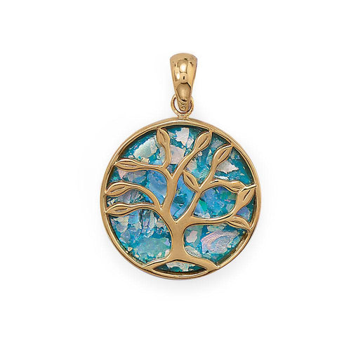 Growth and Renewal Tree of Life Roman Glass Pendant at 3 Barn Swallows, $131