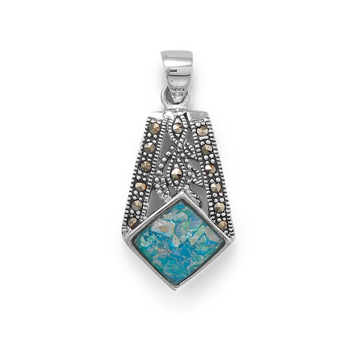 Oxidized Marcasite and Roman Glass Pendant at 3 Barn Swallows, $83