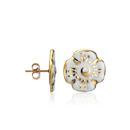 Forget-me-not White and Gold Fine Porcelain Stud Earring at 3 Barn Swallows, $102