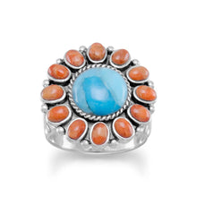 Reconstituted Turquoise and Coral Sunburst Ring at 3 Barn Swallows, $102