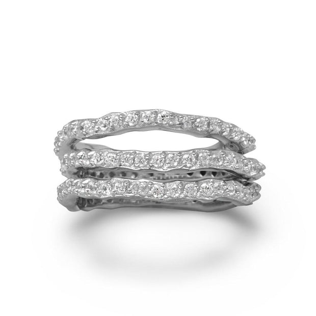 Rhodium Plated Triple Eternity Band Set