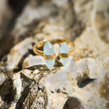 Load image into Gallery viewer, 14 Karat Gold Plated Spike Pencil Cut Aqua Chalcedony Split Ring at 3 Barn Swallows, $47