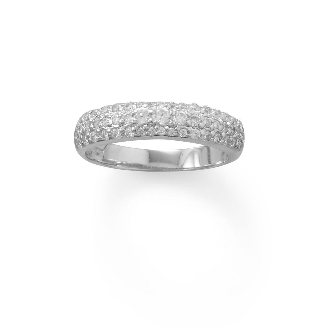 Rhodium Plated Three Row Domed CZ Ring