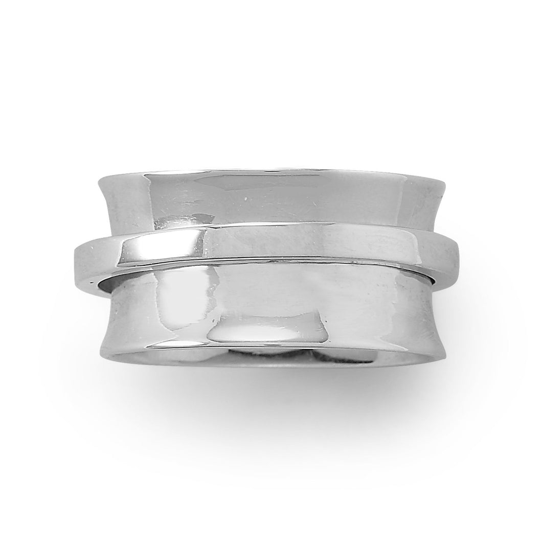 Rhodium Plated Polished Spin Ring