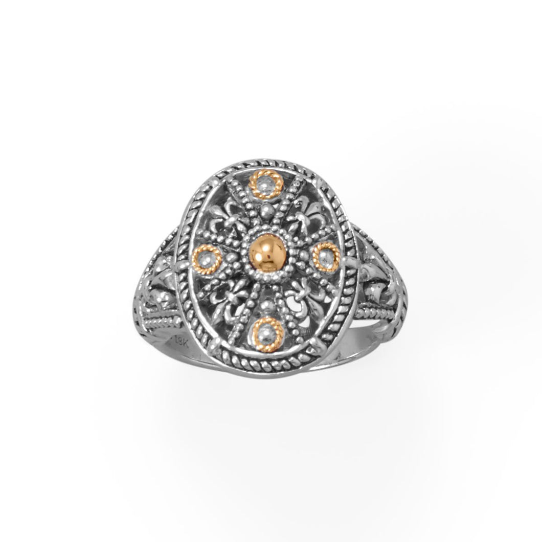Fleur De Lis Fever! Ornate 14 Karat Gold and Sterling Silver Ring at 3 Barn Swallows, $129