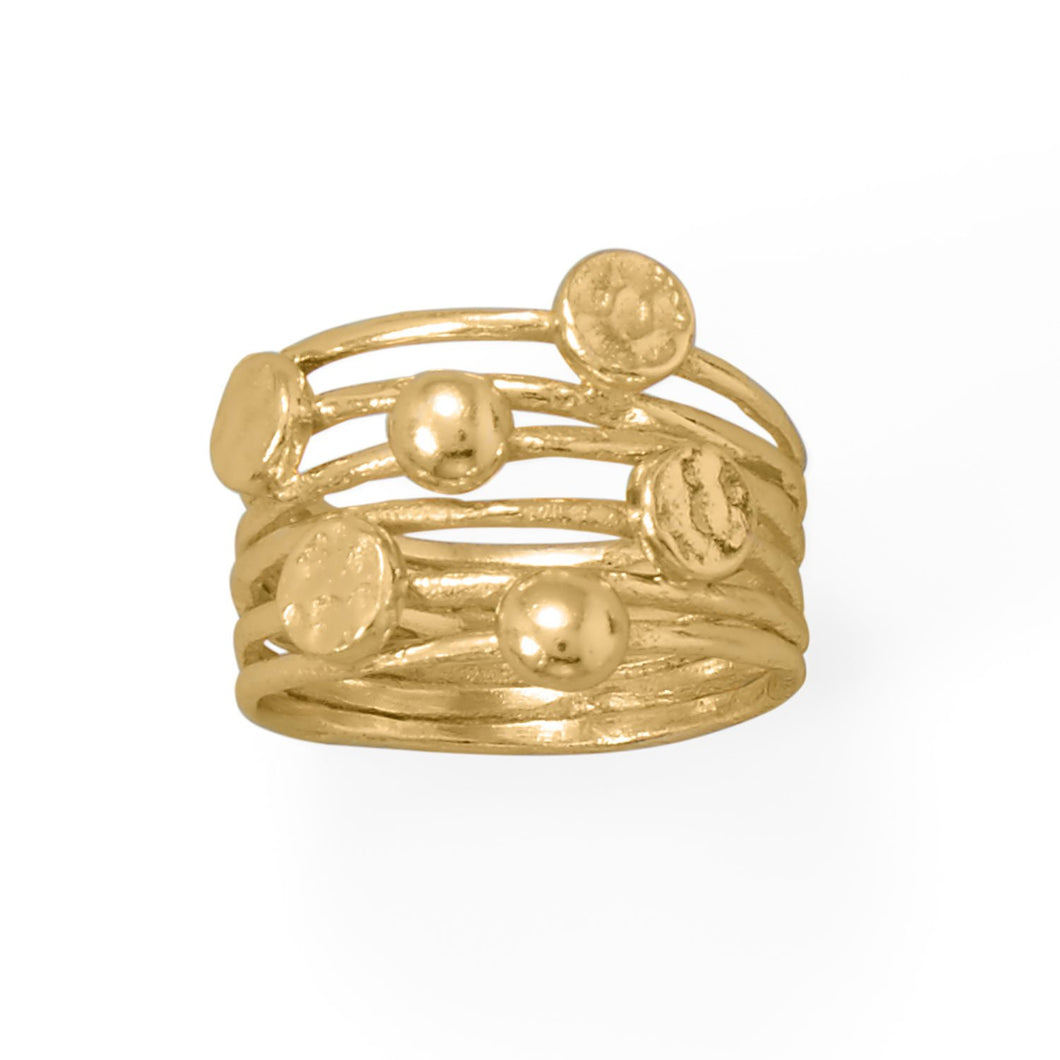 14 Karat Gold Plated 6 Row Ring at 3 Barn Swallows, $90