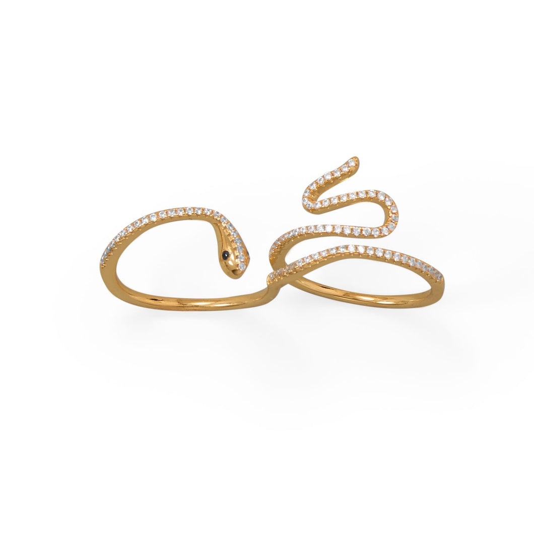 Sassy Serpent! 14 Karat Gold Plated CZ Wrap Snake Ring at 3 Barn Swallows, $69