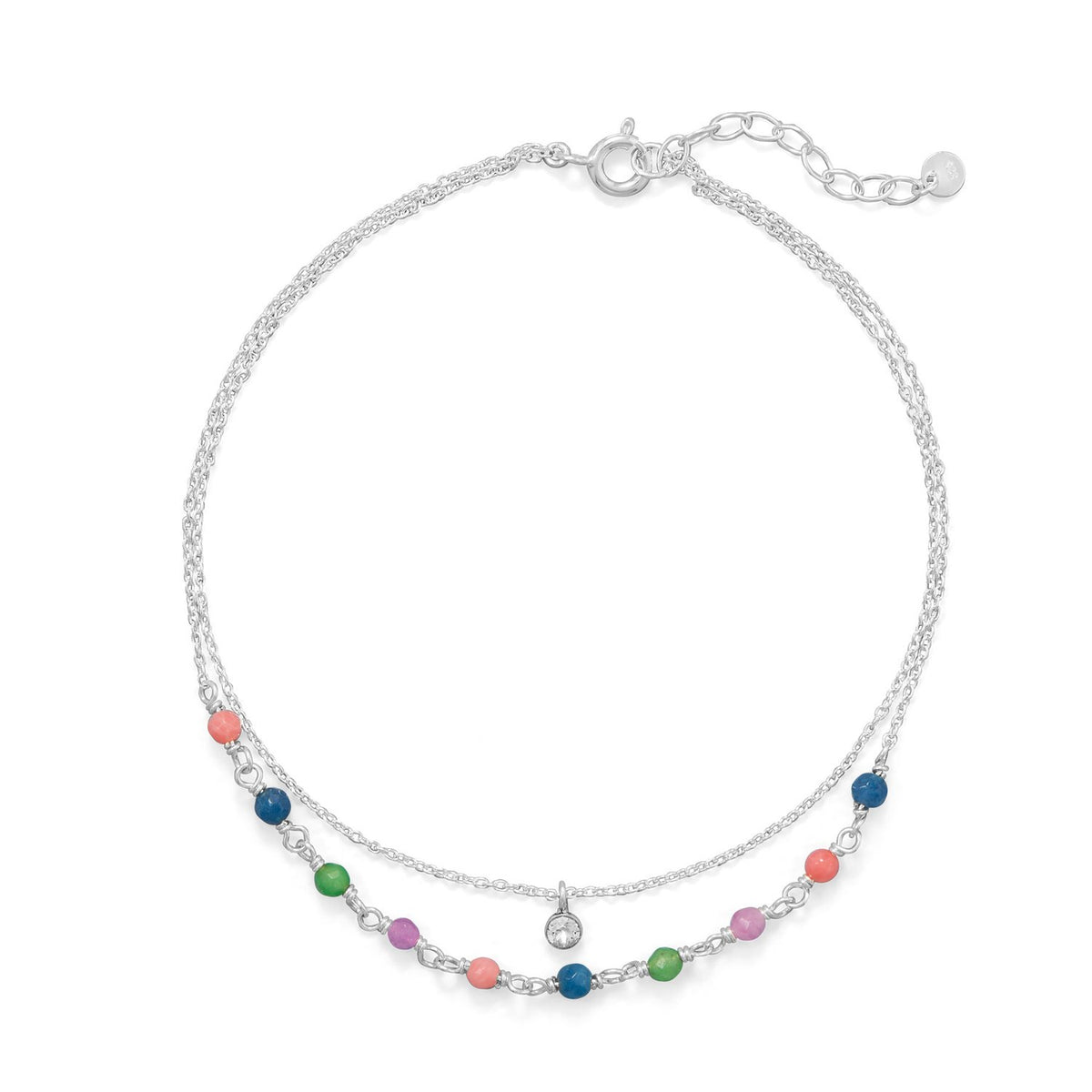 "9""+1"" Multi Color Jade and CZ Double Strand Anklet"