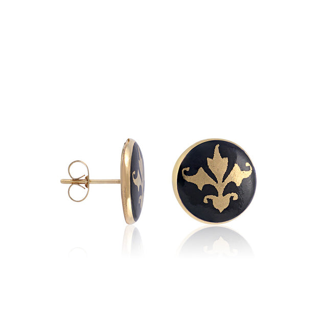 Baroque Black and Gold Fine Porcelain Post Earring by SAZIBE Porcelain