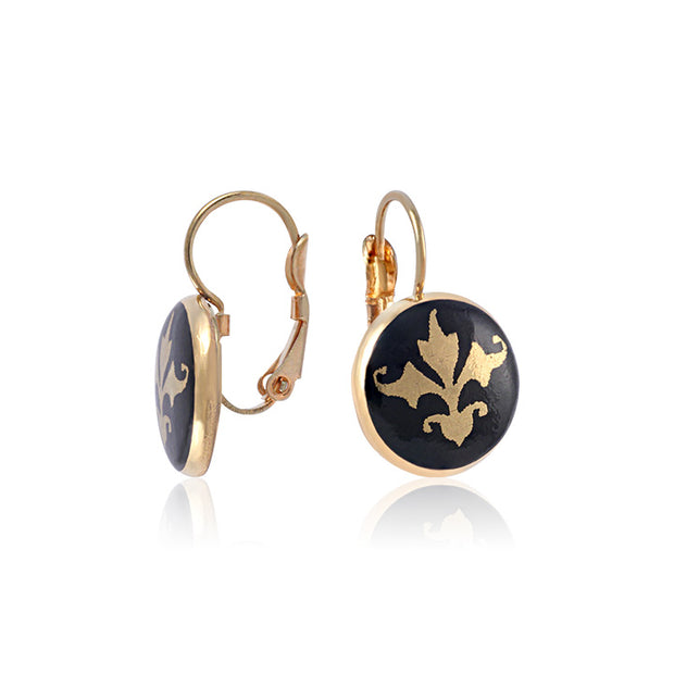 Baroque Black and Gold Fine Porcelain Earring