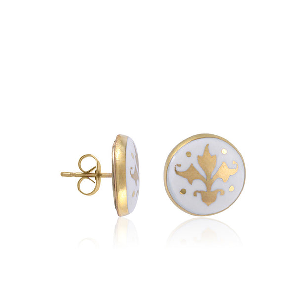 Baroque White and Gold Fine Porcelain Post Earring by SAZIBE Porcelain