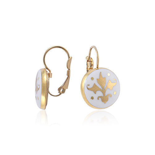 Baroque White and Gold Fine Porcelain Earring at 3 Barn Swallows, $90
