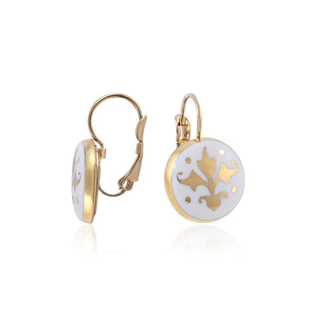 Baroque White and Gold Fine Porcelain Earring by SAZIBE Porcelain