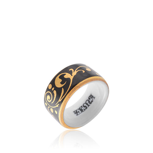 Baroque Black and Gold Fine Porcelain Ring by SAZIBE Porcelain
