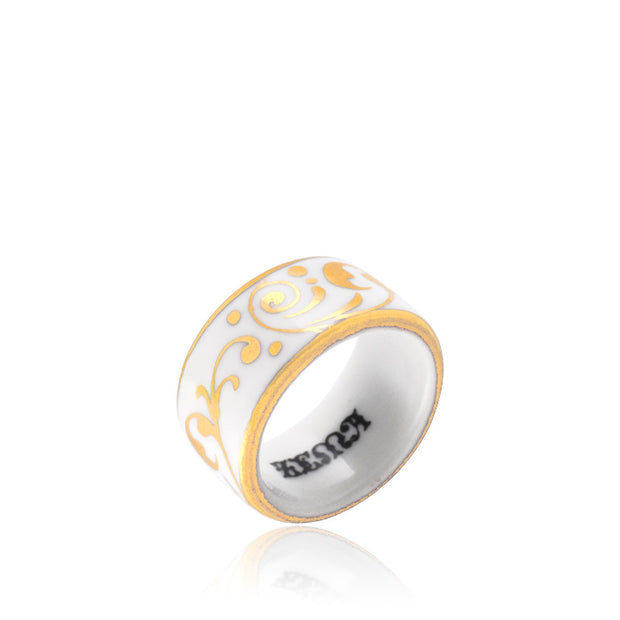 Baroque White and Gold Fine Porcelain Ring by SAZIBE Porcelain