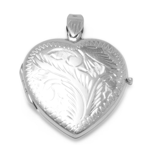 Large Etched Heart Locket at 3 Barn Swallows, $71