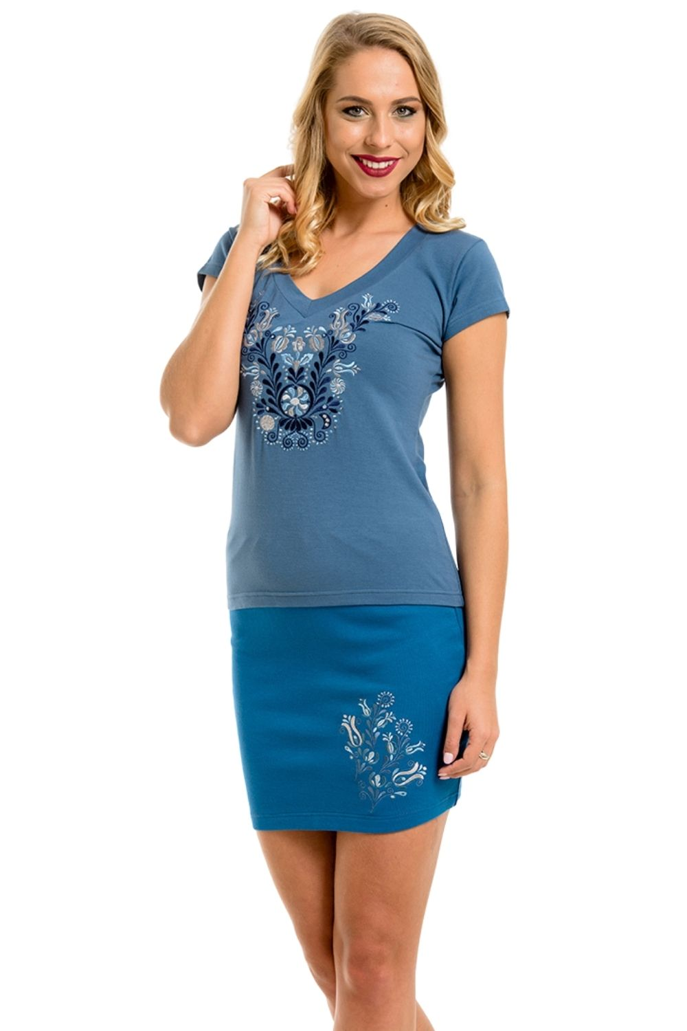 Jaszsagi Embroidered Women's T-shirt SKY-Blue 'V' Neck at 3 Barn Swallows, $41.89