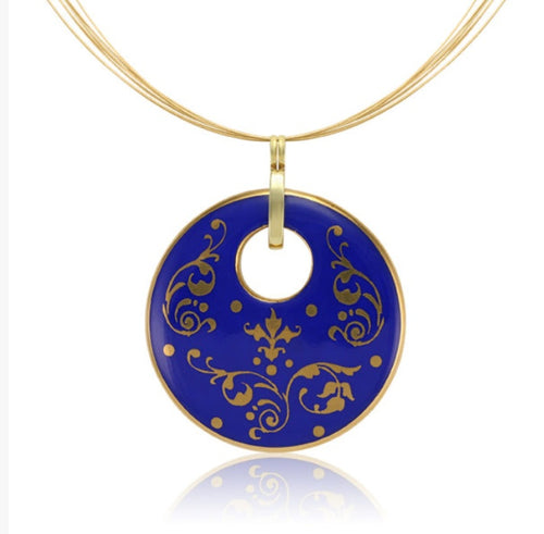Baroque Blue and Gold Fine Porcelain Round Pendant Necklace at 3 Barn Swallows, $200