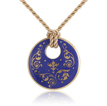 Baroque Blue and Gold Fine Porcelain Round Pendant Necklace