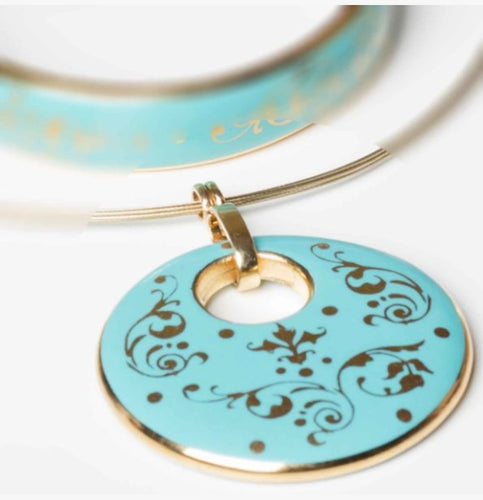 Baroque Mint-Green and Gold Fine Porcelain Round Pendant Necklace at 3 Barn Swallows, $200