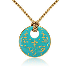 Load image into Gallery viewer, Baroque Mint-Green and Gold Fine Porcelain Round Pendant Necklace at 3 Barn Swallows, $200