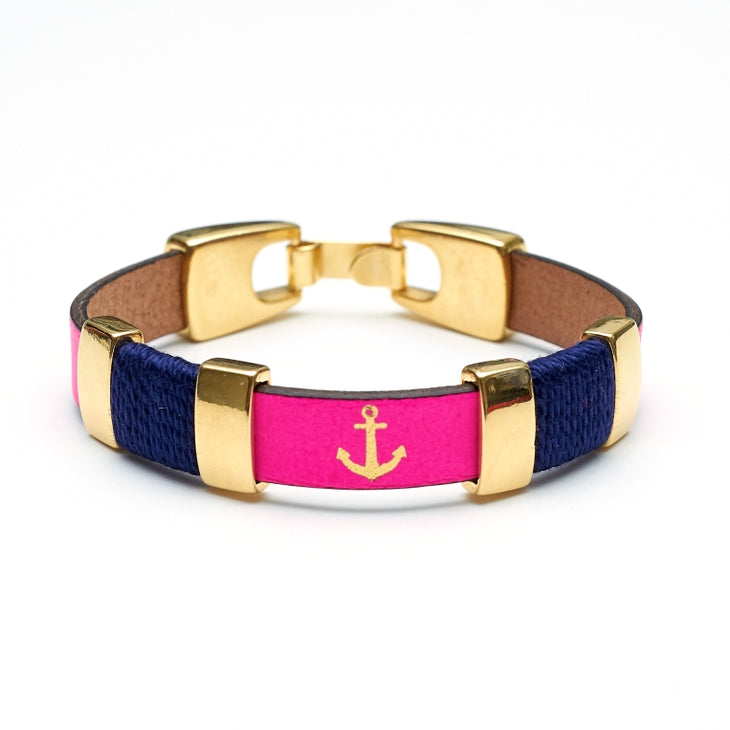 Chatham Bracelet - Neon Pink/Navy/Gold Allison Cole Jewelry at 3 Barn Swallows, $36