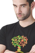 Men's Short Sleeve T-shirt With Embroidered Avar Lifetree-Griffin Motifs, Black