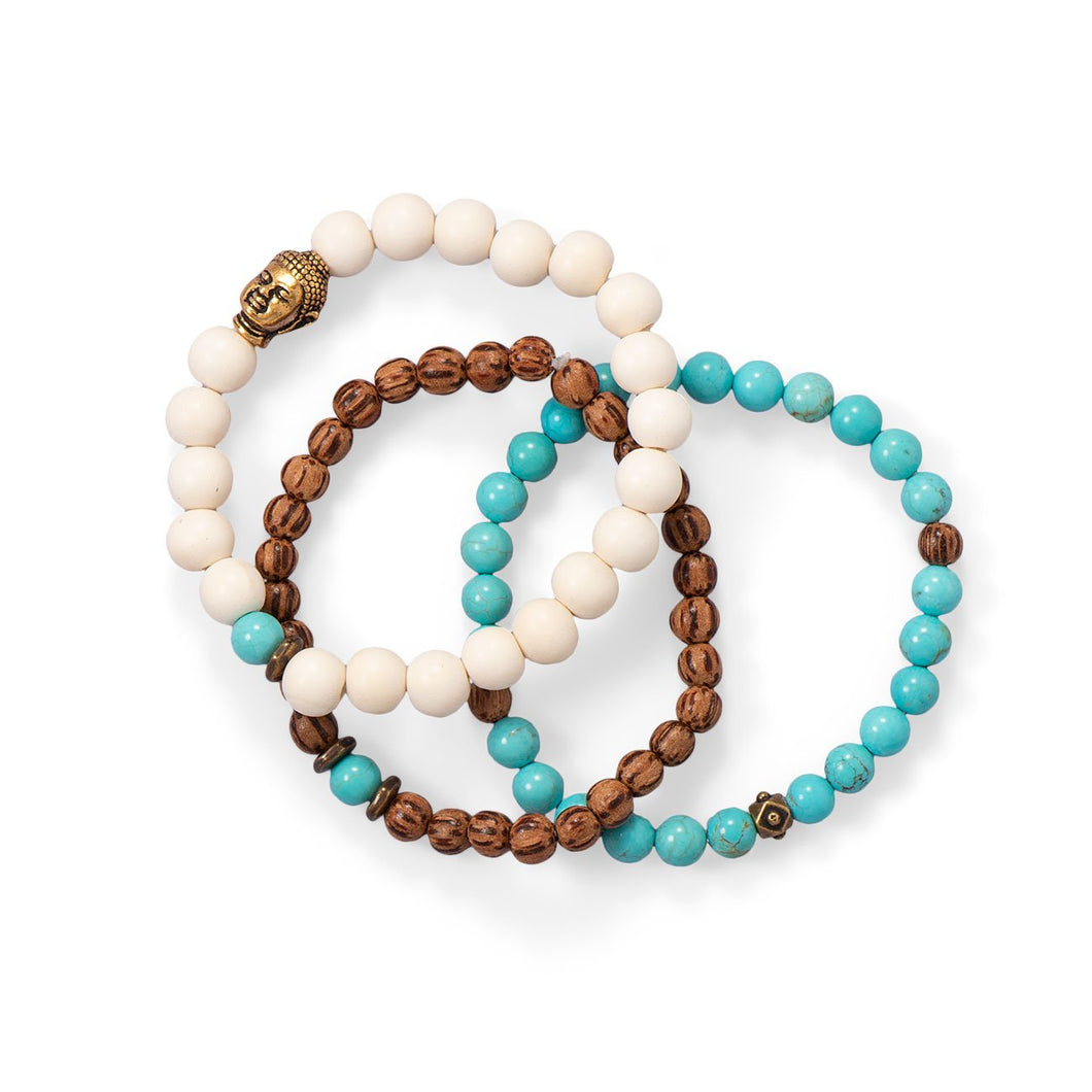 Wood and Magnesite Buddha Stretch Bracelet Set at 3 Barn Swallows, $45