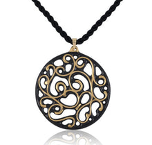 Aero Black and Gold Fine Porcelain Pendant Necklace 60mm silk thread by SAZIBE Porcelain