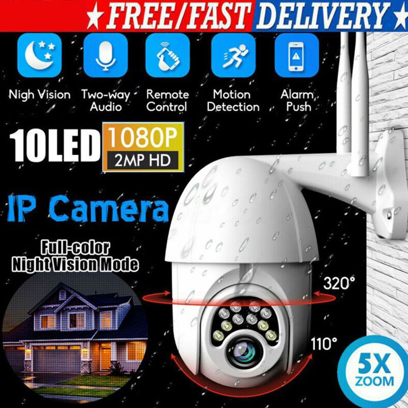1080P PTZ IP Camera Outdoor Wireless WiFi Camera Speed Dome Security Camera Pan 2MP Network CCTV Surveillance Camcorder - MASS Wholesalers