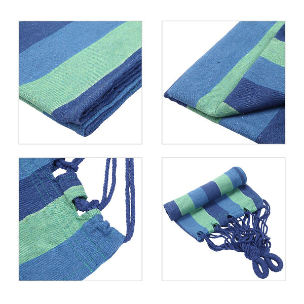 1pc Portable Blue Canvas Stripe Single Hammock Bed - MASS Wholesalers