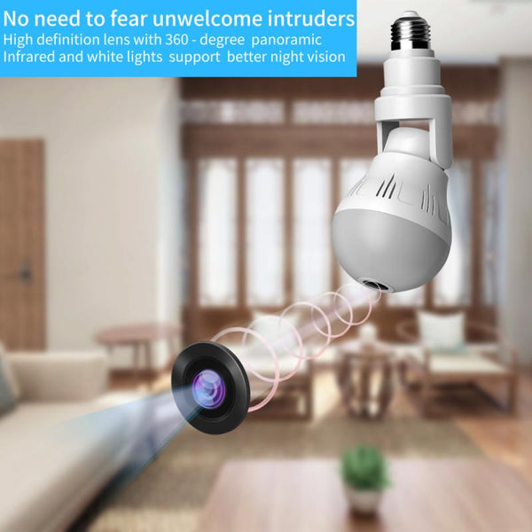 360° Panoramic Wifi Camera E27 Light Bulb HD 1080P Security IP Camera Baby Pet Monitoring Good LED Light Effect Lighting - MASS Wholesalers