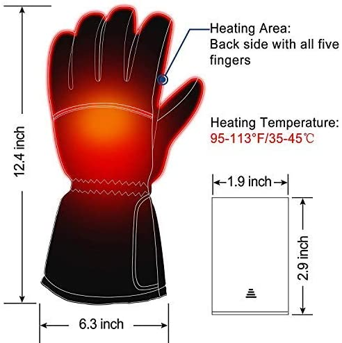 Z-YQL Battery Powered Rechargeable Heated Gloves for Men/Women, Waterproof Insulated Electric Heating Thermal Gloves for Winter Warmer Outdoor Camping Hiking Hunting - MASS Wholesalers