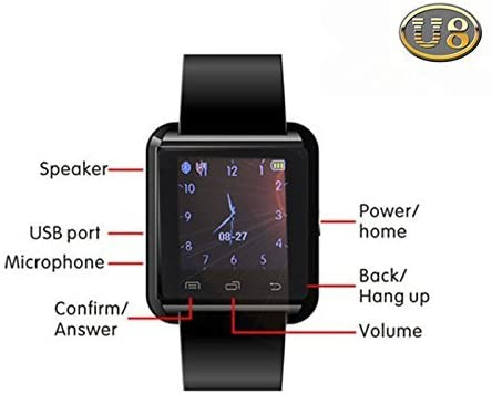 Alike U8 Bluetooth Smartwatch Wristwatch Touch Screen for iOS Android Smartphone Black) - MASS Wholesalers