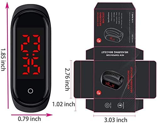 Body Thermometer Watch, PCTC Thermometer Bracelet Smart Wristband Watch Body Temperature Measuring Real-time Display Smartwatches,Waterproof, for Women Men and Kids - Black - MASS Wholesalers