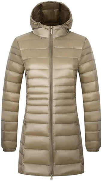 AbelWay Women's Hooded Ultra Light Weight Coat Packable Outwear Long Puffer Down Jacket - MASS Wholesalers
