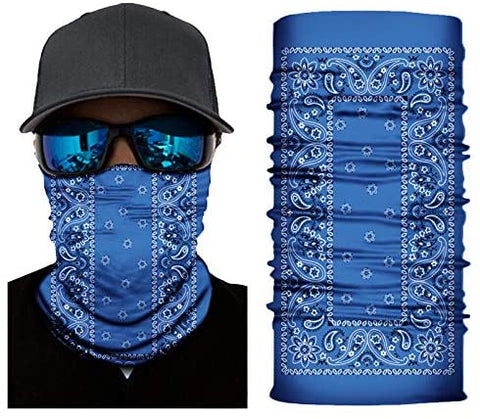 Seamless Face Cover Mouth Mask Bandana Neck Gaiter Cool Lightweight Blue - MASS Wholesalers