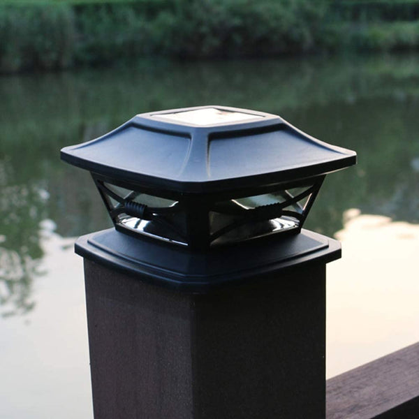 CfoPiryx Solar LED Post Lights Outdoor Garden Waterproof Square Black Landscape Post Cap Lamp Waterproof Wall Lights for 5.9x5.9 Wooden Posts, Deck, Patio, Fence - MASS Wholesalers