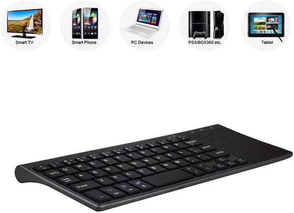 Zienstar-2.4Ghz Mini Wireless Keyboard with Touchpad Numeric Keypad Portable for Smart TV,Android TV Box,HTPC, IPTV, XBOX360, PS3, PC, etc (GrayBlack) - MASS Wholesalers
