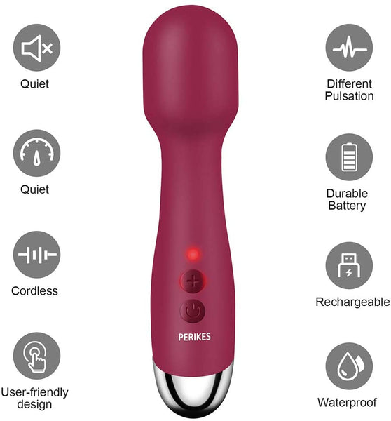 PERIKES Magical Powerful Mini Wand Massager Wireless Electric Personal Release USB Rechargeable Handheld Waterproof Mute Vibration Shoulder Neck Back Body Massage Deep Stress Relax ((red) - MASS Wholesalers