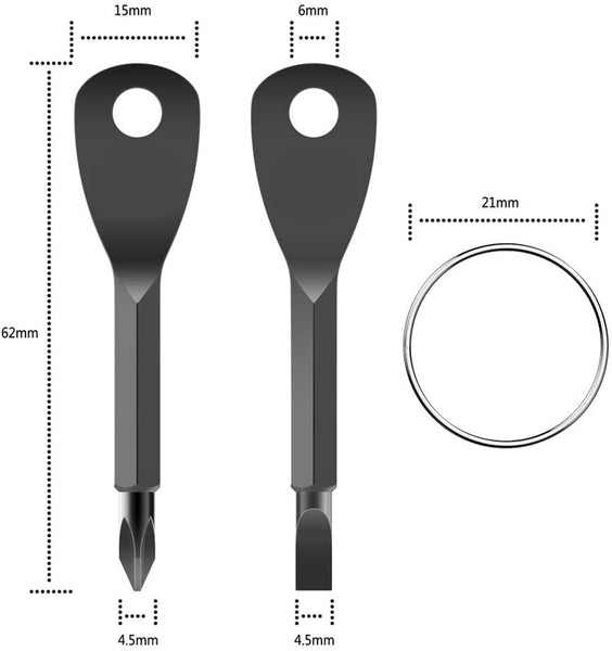 XOCOY Screwdriver Keychain Portable Multifunctional EDC-Tool Outdoor (Black) - MASS Wholesalers
