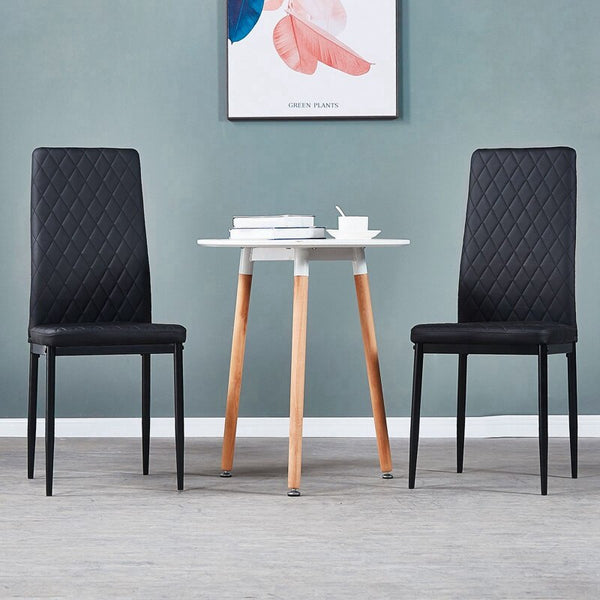 Solid Sprayed Leather 6 Pc Modern Diamond Grid Quilted Dining Room Chair Set - MASS Wholesalers