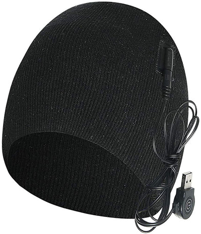 Men Women Electric Heated Hat Rechargeable, Intelligent Warm Cap, Beanie, Breathable, Soft, for Outdoor, Skiing, Hiking Black - MASS Wholesalers