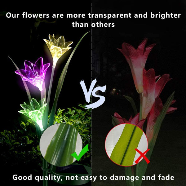 Solar Flower Lights Outdoor Lily Light LED Multicolor Landscape Light Automatically Turns On/Off, for Garden Backyard Tombstone Decorative Lights 5 Pack - MASS Wholesalers