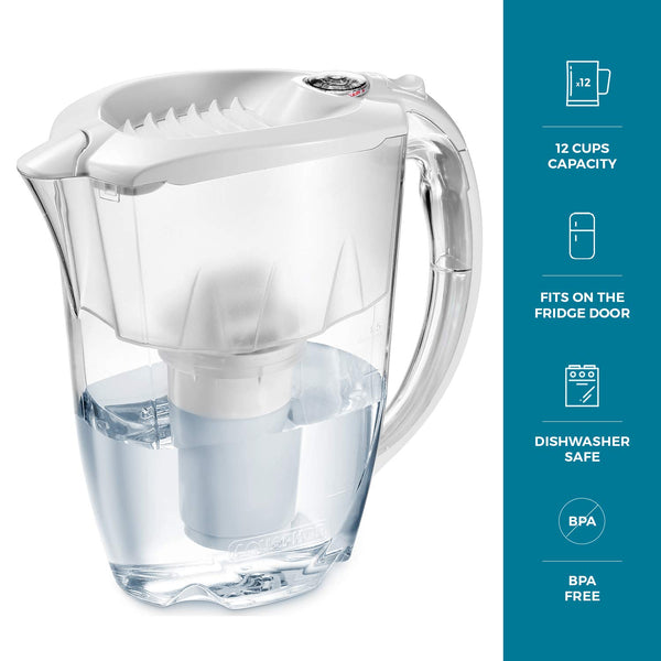 Nakii by Aquaphor Everyday Water Filter Pitcher, Powerful Ion and Aquelen Filtration System, Long Lasting Filter, Filters Chlorine, Lead, Heavy Metal, Remove Lime-scale, Filter Change Indicator,12 Cup - MASS Wholesalers