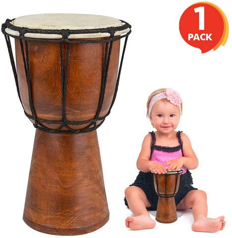 ArtCreativity 8 Inch Mini Wooden Toy Drum - Rustic Brown Wood and Authentic Design - Fun Musical Instrument for Children - Gift Idea, Party Supplies, Birthday Party Favor for Boys, Girls, Toddler - MASS Wholesalers