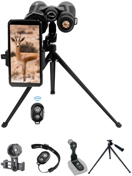 Binoculars Tabletop Photographing Kit with 19-inch Tabletop Tripod, Binoculars Tripod Adapter, Binoculars Phone Adapter - MASS Wholesalers